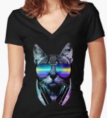 Music Lover Cat Women's Fitted V-Neck T-Shirt
