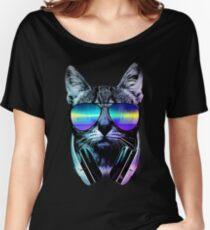 Musikliebhaber Katze Baggyfit T-Shirt