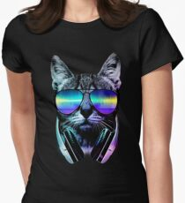 Music Lover Cat Women's Fitted T-Shirt