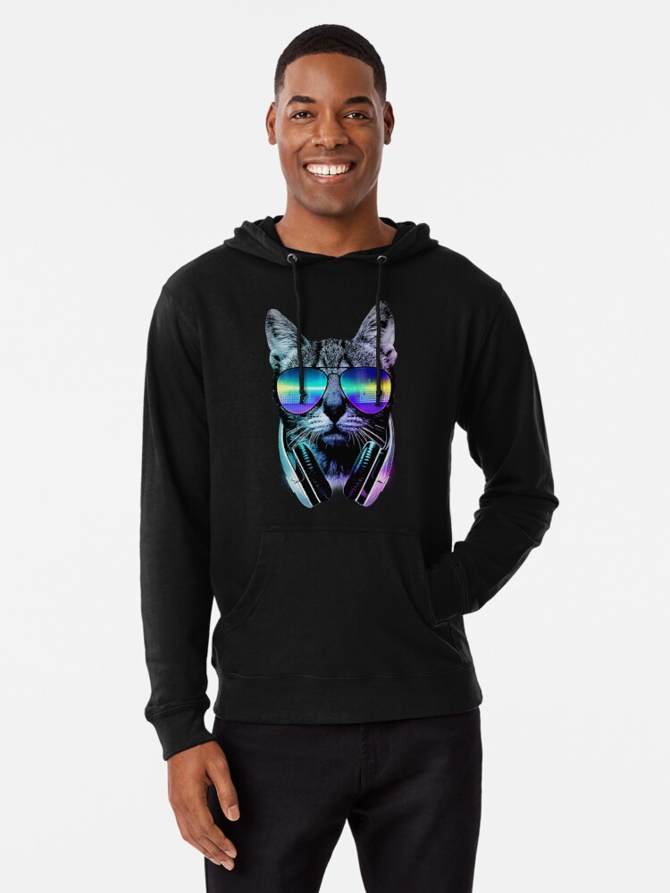 Alternate view of Music Lover Cat Lightweight Hoodie
