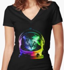 Astronaut Cat Women's Fitted V-Neck T-Shirt