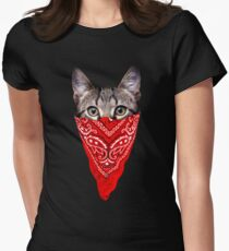 Gangster Cat Women's Fitted T-Shirt