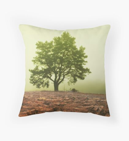 The tree in fog Throw Pillow