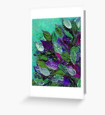 BLOOMING BEAUTIFUL Mint Green Purple Elegant Floral Abstract Leaves Garden Whimsical Textural Colorful Acrylic Flowers Painting Greeting Card