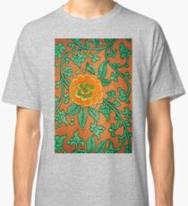 Green And Orange Floral Vintage Asian Pattern Design Classic T-Shirt