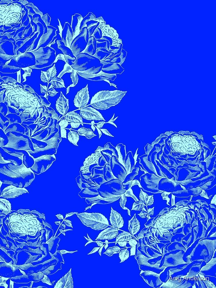Vestido Acampanado Hermosas Rosas Azules Invertidas De Ocdesigns2