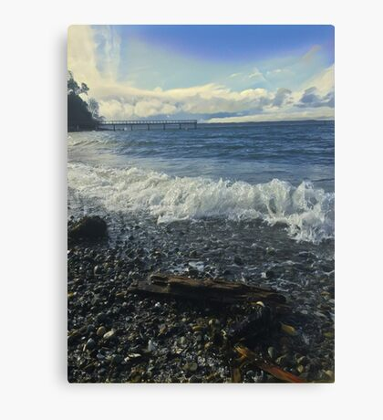 Blue Frothy White Water Canvas Print