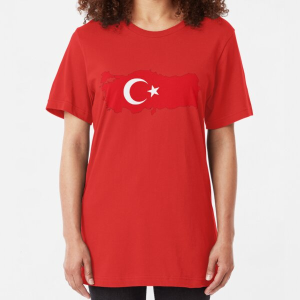 Turkey Country Outline and Flag Slim Fit T-Shirt