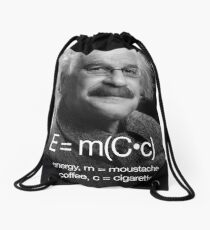 Energy = moustache (coffee * cigarettes) Drawstring Bag