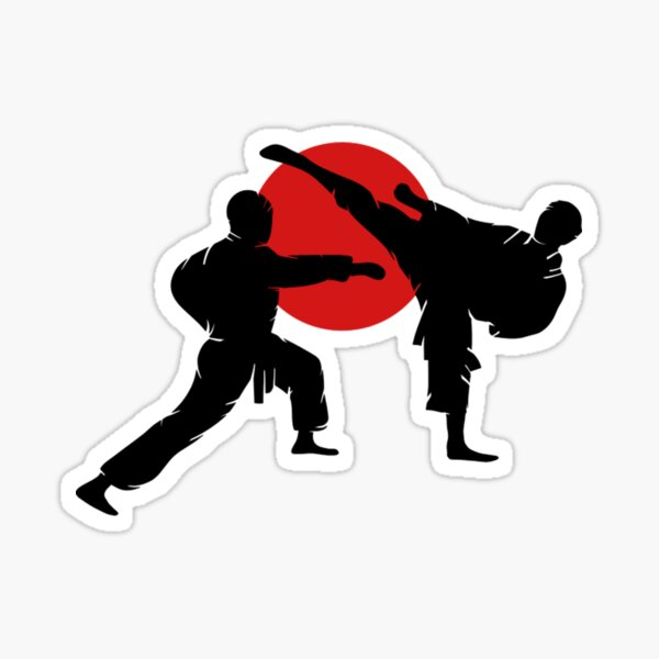 Two Karate Fighter- Karate Shirts Men Sticker