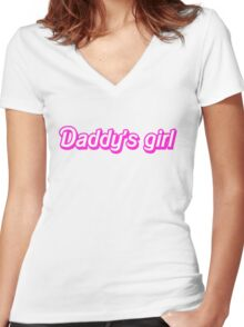 Hot Pink Daddy's Girl Women's Fitted V-Neck T-Shirt