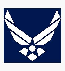 United States Air Force Logo, White Photographic Print