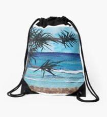 """Something About The Pandanus"" beach scene seascape textile art Drawstring Bag"
