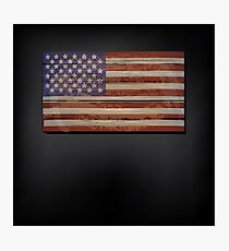 The United States flag on a rustic wood background  Photographic Print