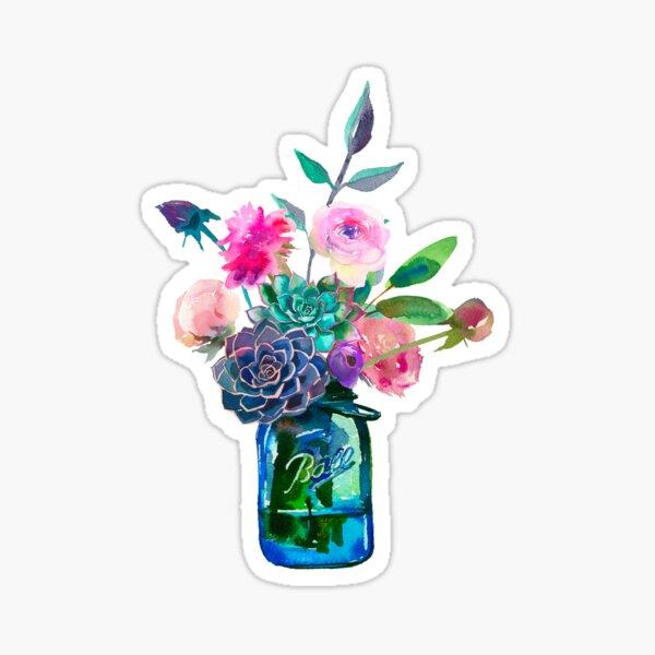 Watercolor mason jar flowers Sticker