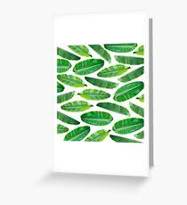 Banana Leaf Pattern on White Greeting Card