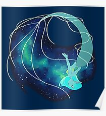 Blue Galaxy Mermaid Poster
