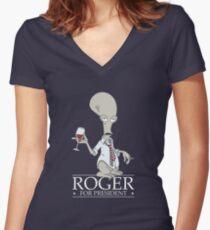 Roger for President Women's Fitted V-Neck T-Shirt