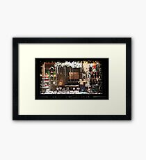 Christmas showcase in the evening Framed Print