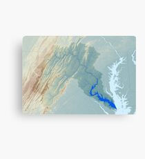 Potomac River Watershed Map - Raw Landscape Canvas Print