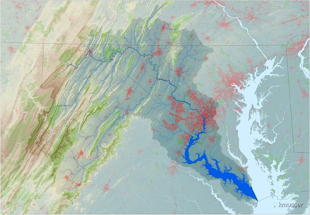 Potomac River Watershed Map - Modified Landscape by kmusser