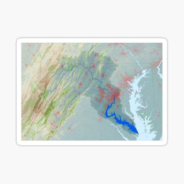 Potomac River Watershed Map - Modified Landscape Sticker