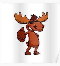 Cute moose cartoon waving. Poster