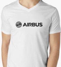 Airbus Aircraft Logo Black Mens V-Neck T-Shirt