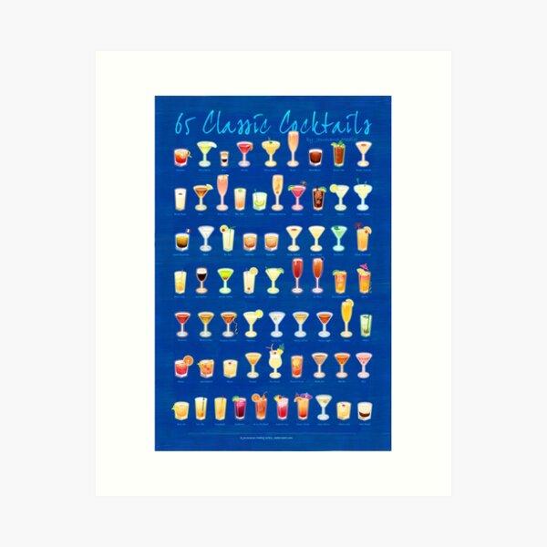 65 Classic Cocktails Art Print