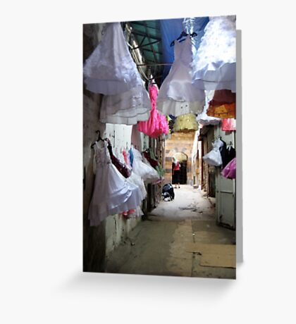 Dresses on display in Tripoli, Lebanon Greeting Card