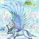 White unicorn wolf winged and wonderous by Stephanie Small