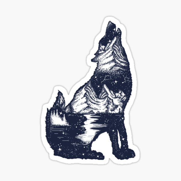 Wolf double exposure Sticker
