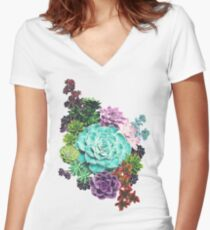Succulent Women's Fitted V-Neck T-Shirt