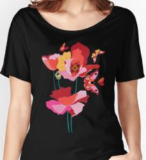 Seamless pattern of beautiful red poppies Women's Relaxed Fit T-Shirt