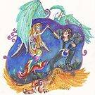 Faeries Dancing with Pegasus and Griffon by Stephanie Small