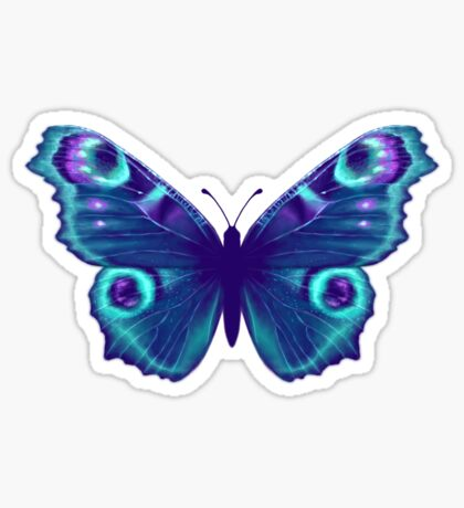 Purple and Teal Butterfly Sticker