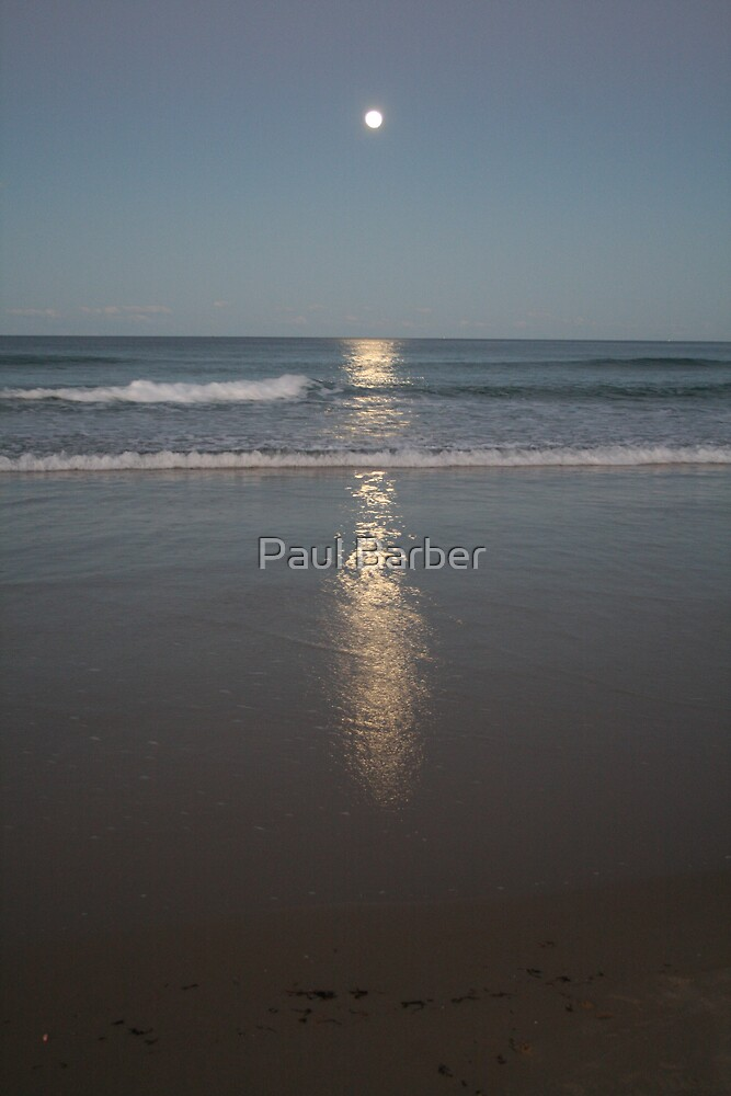 Moon and beach by Paul Barber