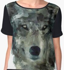 Wolf Face Watercolor Women's Chiffon Top