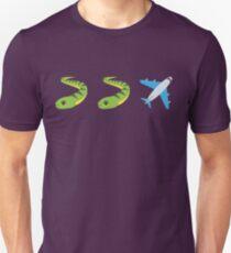 Plane and Snakes Emoji Graphic Unisex T-Shirt
