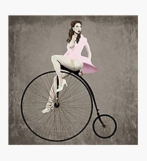 Pin-up on Penny Farthing Photographic Print