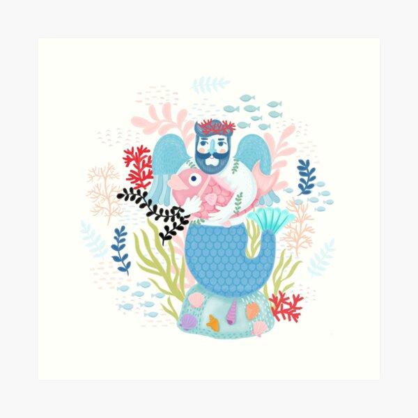 Love Merman Illustration  Art Print