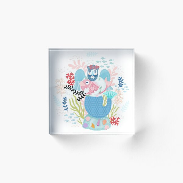 Love Merman Illustration  Acrylic Block