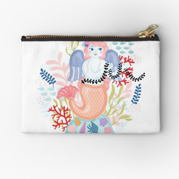 Love Mermaid Illustration Zipper Pouch