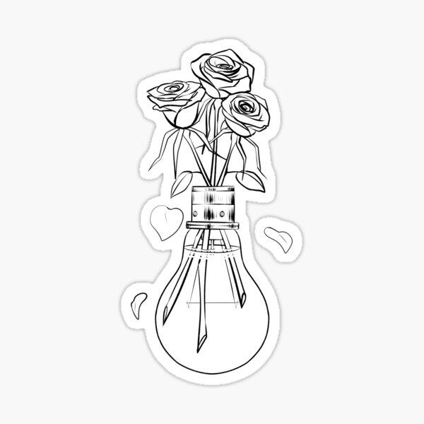 roses lightbulb Sticker