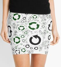 pattern with recycle symbols. Mini Skirt