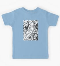 Black And White Retro Patterned Flowers Victorian Floral Design Kids Tee