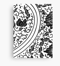 Black And White Retro Patterned Flowers Victorian Floral Design Canvas Print