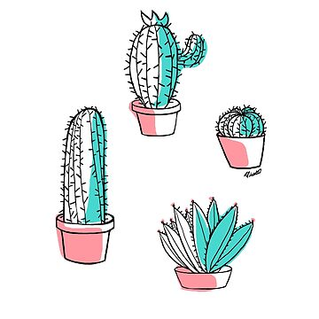 Colorful cactus by apuchadesart