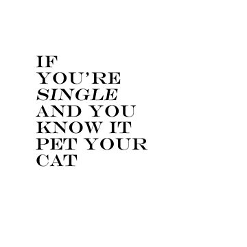 IF YOU'RE SINGLE AND YOU KNOW IT PET YOUR CAT by bondandreabond