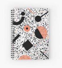 Terrazzo Stone, Stone Pattern, Memphis, Black and Orange Spiral Notebook